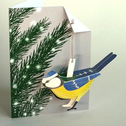 Pop Up Card - Blue Tit in Xmas Tree