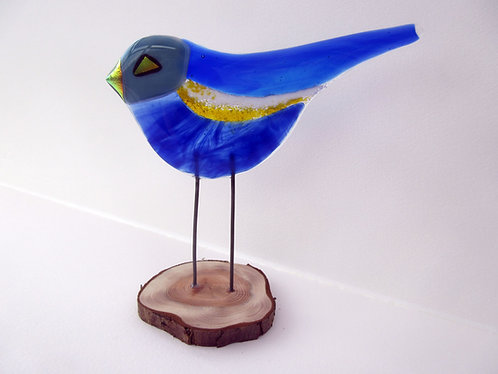 Fused Glass Blue Bird