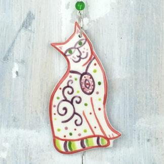 Ceramic Coloured Cat Hanging