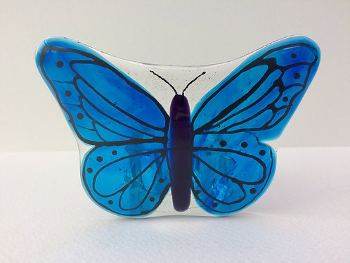 Painted Blue Butterfly T-Light Holder