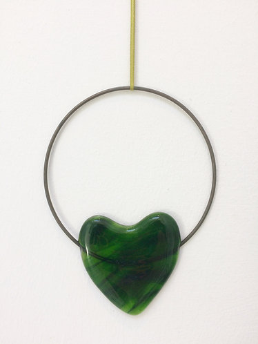 Fused Glass Green Heart Circle Hanging