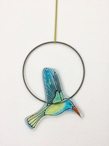 Fused Glass Hummingbird Circle Hanging