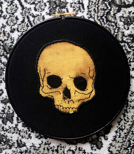 Gem Travers - Skull on Black, Gold Tooth, Embroidery on Black Cotton