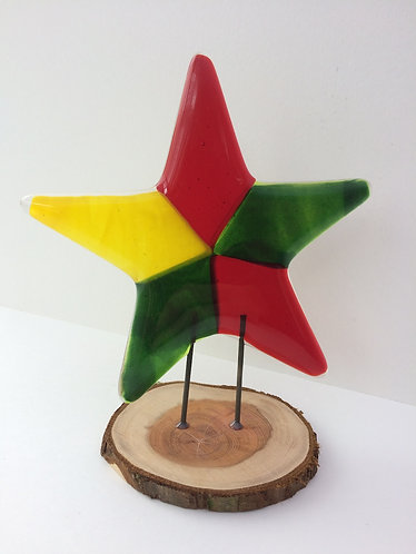 Green, Red, Yellow Fused Glass Star