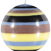 Rose Beige, Jet Black, Saxe Blue & Primrose Small Striped Ball Candle
