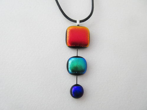 Fused Dichroic Glass 3 Drop Pendant with Cord
