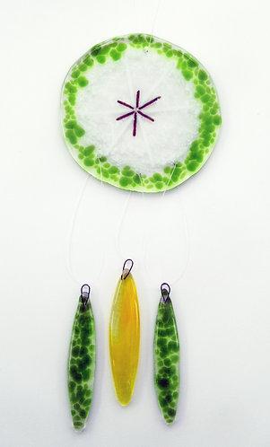 Fused Glass Garden Hanging - Green & White