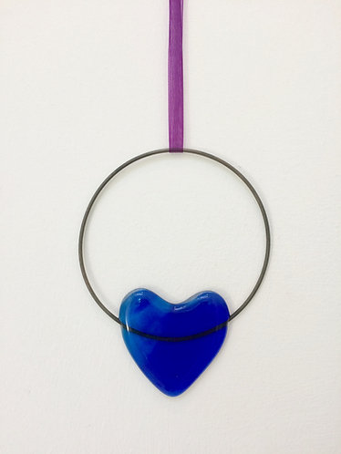 Fused Glass Blue Heart Circle Hanging