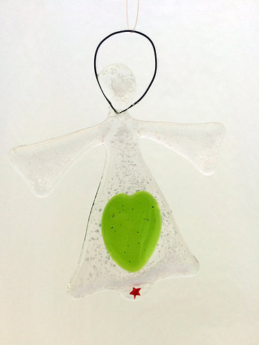 Green Heart Hanging Angel
