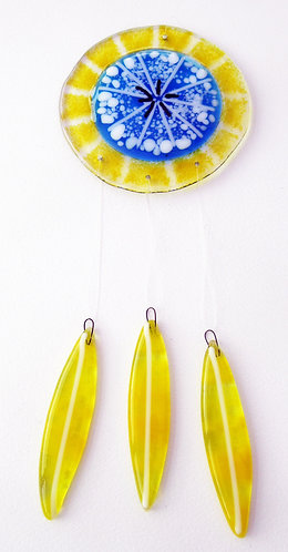 Fused Glass Garden Hanging - Yellow & Blue SeedHead
