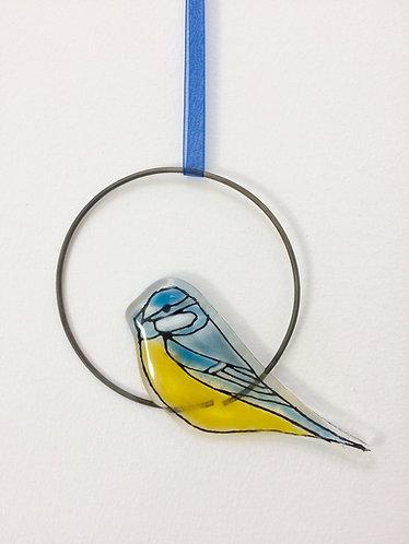 Fused Glass Blue Tit Circle Hanging