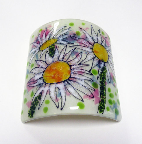 Candle Curve White Daisy