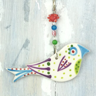 Ceramic Coloured Bird Hanging