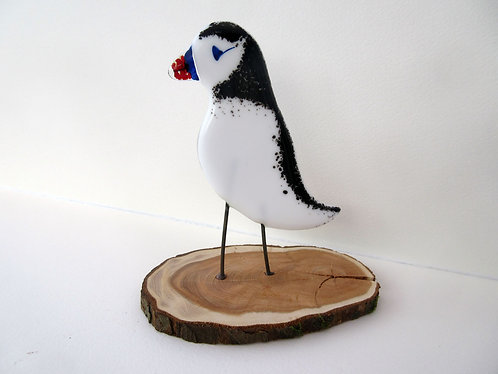Fused Glass Standing Puffin