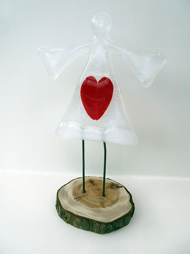 Fused Glass Standing Red Heart Angel