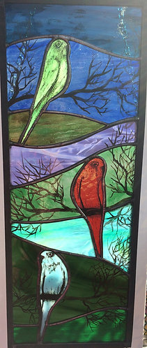 Budgies - Painted glass, copper foil & Lead Window Panel