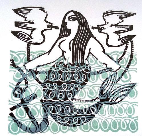 Nadia Lucchesi - The Mermaid, Linocut