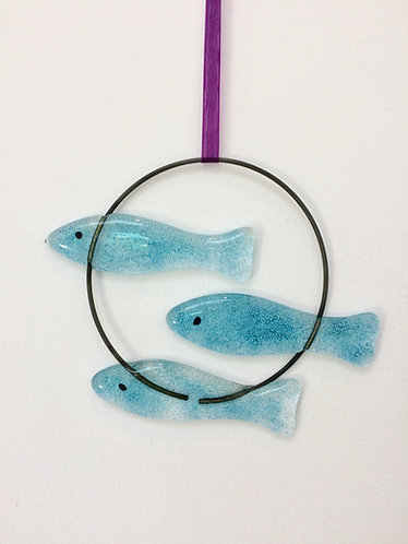 Fused Glass 3 Fish Circle Hanging