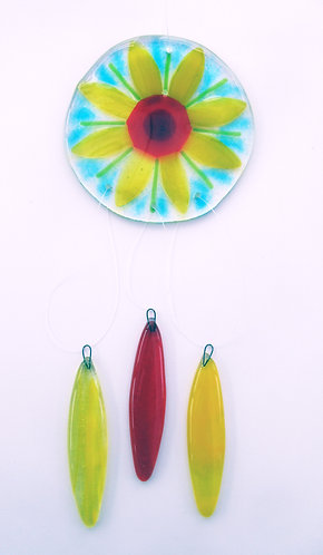Fused Glass Garden Hanging - Yellow & Blue Flower