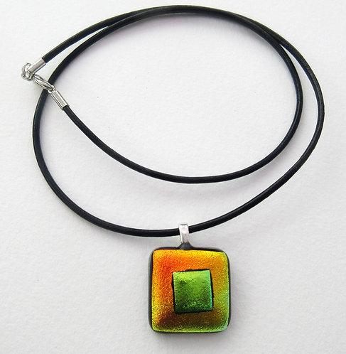 2 Tone Square Pendant with Cord