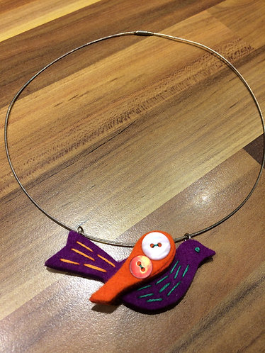 Little Purple Felt Bird Necklace
