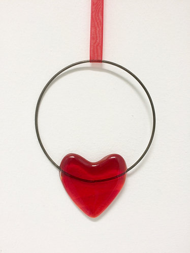 Fused Glass Red Heart Circle Hanging