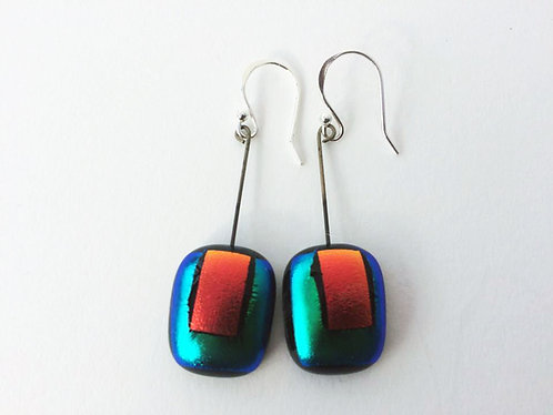 Fused Glass Rectangle Earrings