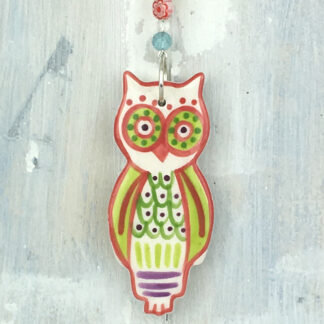 Ceramic Coloured Owl Hanging