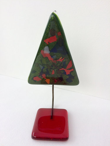 Green Xmas Tree with Frit & Red Base