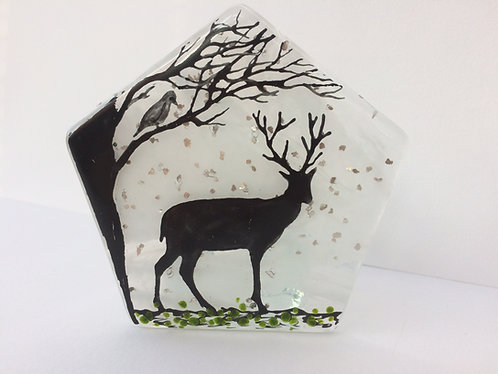 Stag & Bird T-Light Holder (facing right)
