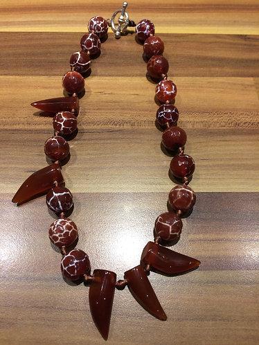 Orange Leopard Agate & Cornelian Tooth Necklace
