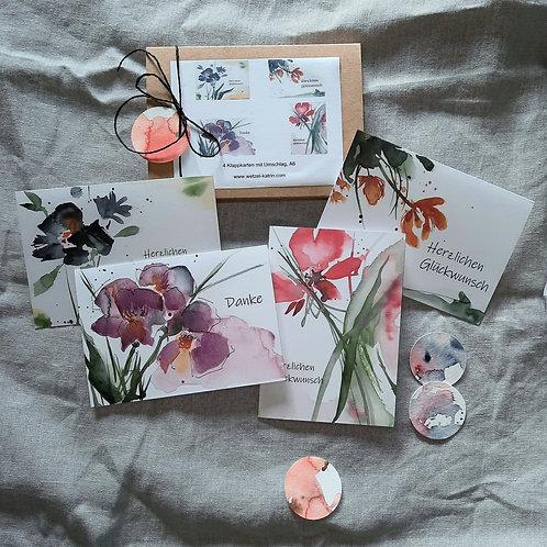 """Kartenbox """"Danke"""",   4 verschiedene KlappkartenA6 mit Umschlag"""