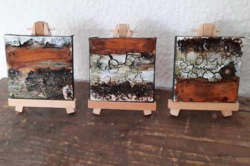3 Minibilder 8cmx8cm auf Staffelei