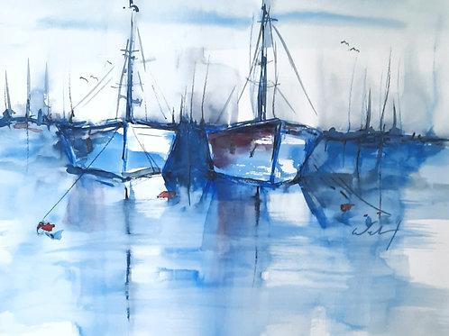 """Aquarell """"Boote"""", quer H 40cm x B 50cm, Ausschnitt: H 29cm x H 39cm"""