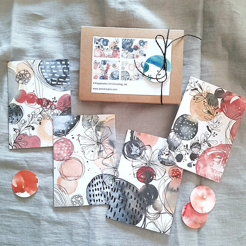 """Kartenbox """"Floral"""",   4 verschiedene Klappkarten A6 mit Umschlag"""