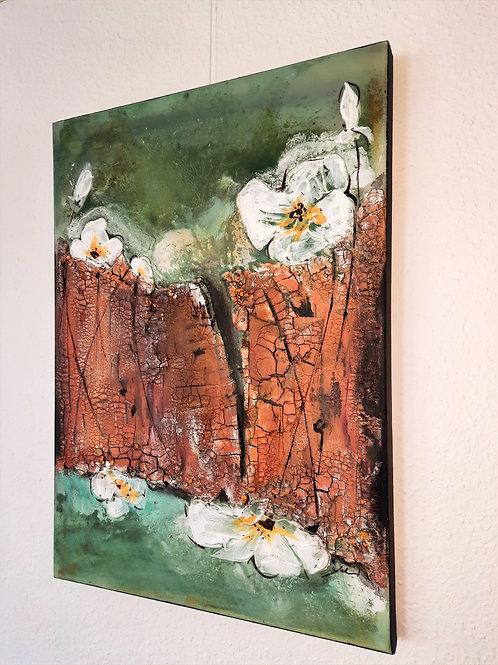 "Acrylbild ""white flower"", 70cmx70cmx4cm"