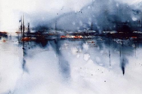 """Aquarell """"abstrakte Landschaft"""", 30cmx40cm, Ausschnitt 20 x 29cm"""