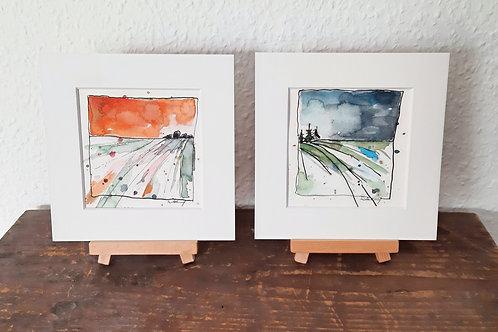 """2er Kartenset """"Landschaft"""",   2 verschiedene Klappkarten 15cmx15cm"""