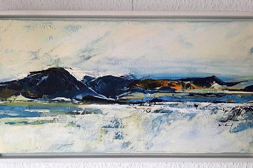 """Acrylbild """"Fjord"""", 30cmx60cmx2cm im weißen Rahmen"""
