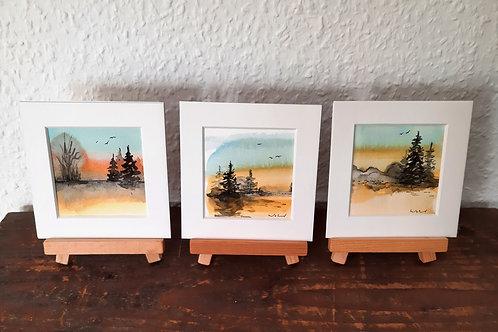 """3er Kartenset """"Landschaft"""",   3 verschiedene Klappkarten 10cmx10cm"""