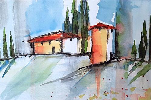 """Aquarell """"Toscana"""", 30cmx40cm, Ausschnitt:19cmx29cm"""