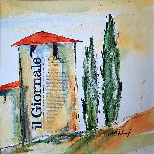 "Aquarell ""Il Giornale Nr.1"", 20cmx20cm, Ausschnitt:13,5cmx13,5cm"