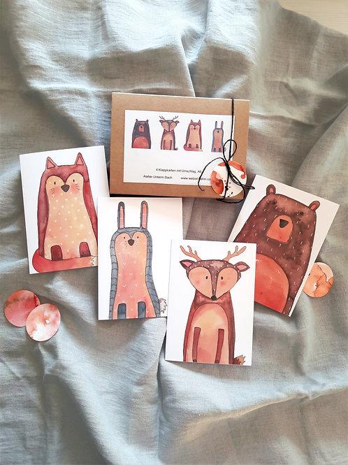 """Kartenbox """"Tiere"""",   4 verschiedene KlappkartenA6 mit Umschlag"""