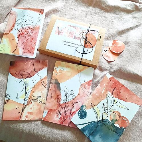 """Kartenbox """"Modern"""",     4 verschiedene KlappkartenA6 mit Umschlag"""