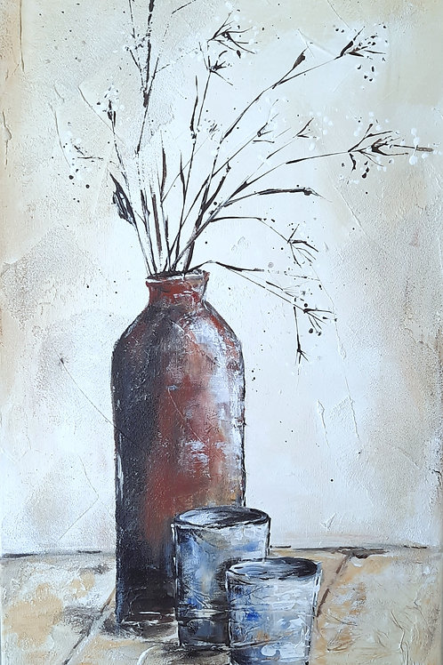 Acrylbild Vase, 60x30 im weißen Holzrahmen