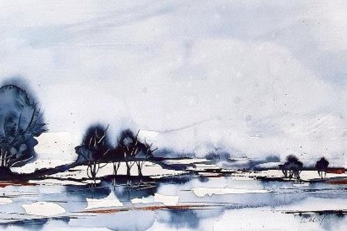 """Aquarell """"abstrakte Landschaft"""", 30cmx40cm, Ausschnitt 20 cm x 29cm"""