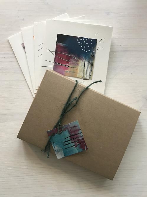 """Kartenbox """"Acryl-Quadrat-12x12"""",     4 Klappkarten mit Umschlag auf Büttenpapier"""