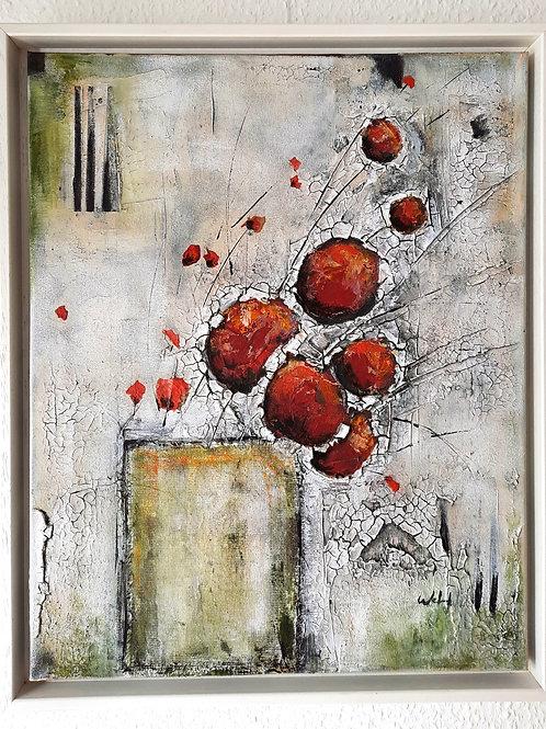"""Acrylbild """"red flower"""", 40cmx50cmx2cm mit weißen Rahmen"""