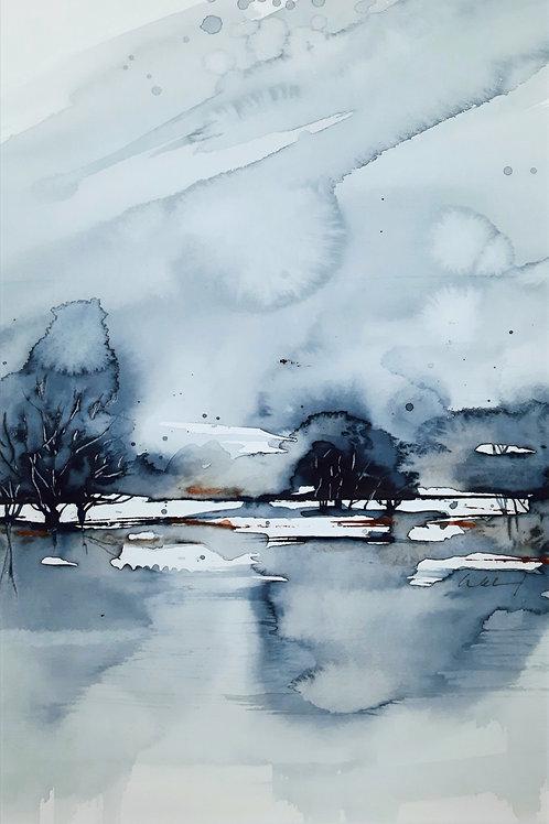 """Aquarell """"abstrakte Landschaft"""", 40cmx30cm, Ausschnitt 29cmx20cm"""