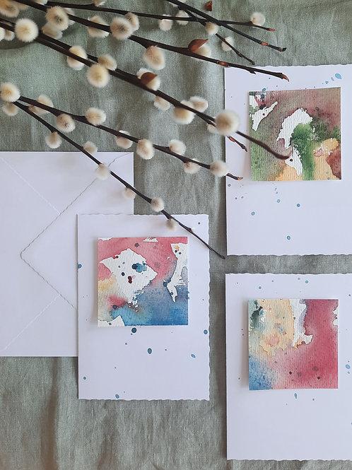 "Kartenbox ""Aquarell-Quadrat"",     3 verschiedene KlappkartenA6 mit Umschlag"